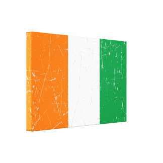 Scuffed and Scratched Ivory Coast Flag Stretched Canvas Print