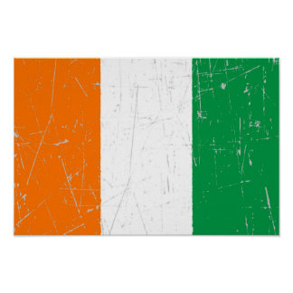 Scuffed and Scratched Ivory Coast Flag Print