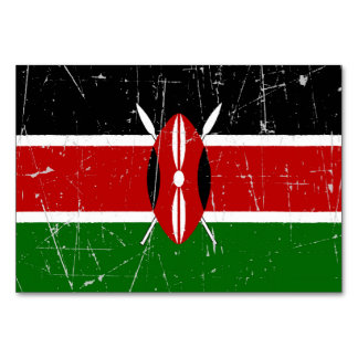 Scuffed and Scratched Kenyan Flag Table Card