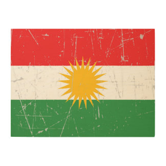 Scuffed and Scratched Kurdish Flag Wood Wall Art