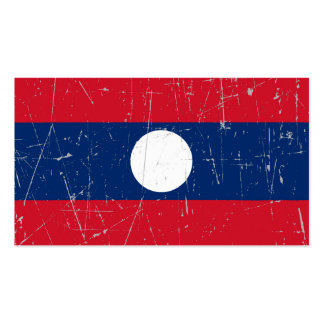 Scuffed and Scratched Laos Flag Business Card Templates