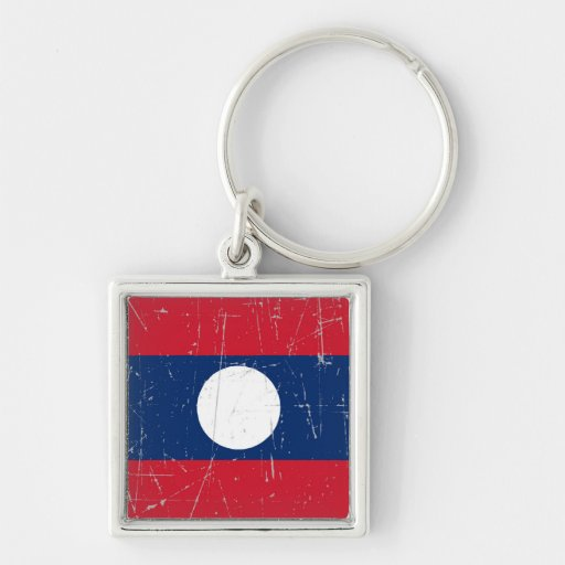 Scuffed and Scratched Laos Flag Keychain