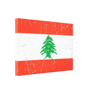 Scuffed and Scratched Lebanese Flag Stretched Canvas Prints