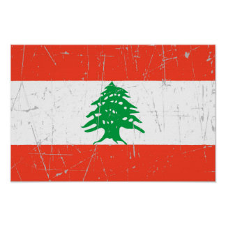 Scuffed and Scratched Lebanese Flag Print