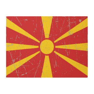 Scuffed and Scratched Macedonian Flag Wood Wall Art