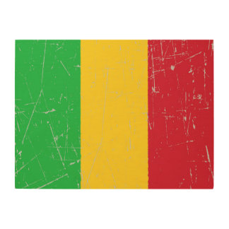 Scuffed and Scratched Mali Flag Wood Wall Art