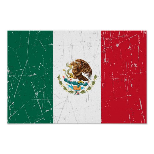Scuffed and Scratched Mexican Flag Posters