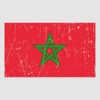 Scuffed and Scratched Morocco Flag Rectangular Sticker