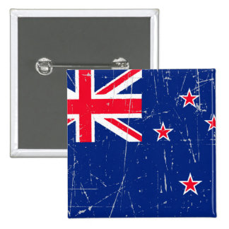 Scuffed and Scratched New Zealand Flag Pinback Button