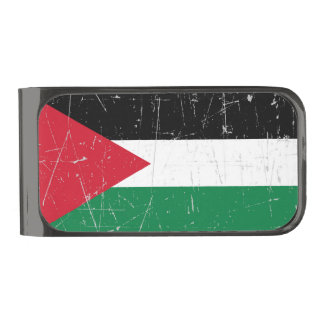 Scuffed and Scratched Palestinian Flag Gunmetal Finish Money Clip
