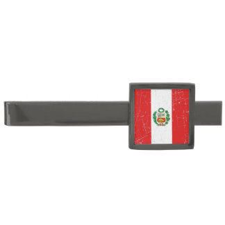 Scuffed and Scratched Peruvian Flag Gunmetal Finish Tie Clip
