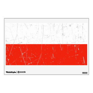 Scuffed and Scratched Polish Flag Wall Sticker