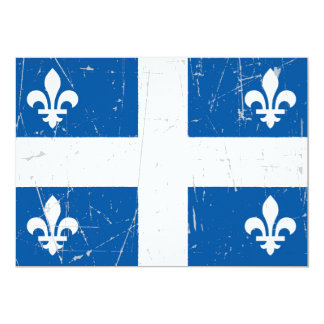 Scuffed and Scratched Quebec Flag 5x7 Paper Invitation Card