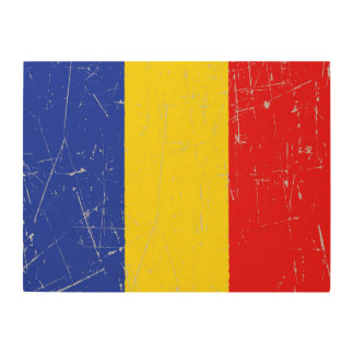 Scuffed and Scratched Romanian Flag Wood Wall Art