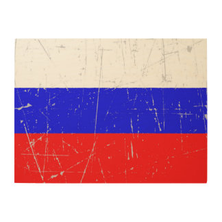 Scuffed and Scratched Russian Flag Wood Print
