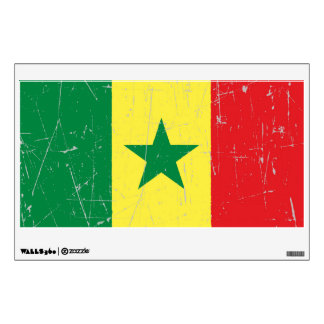 Scuffed and Scratched Senegal Flag Wall Sticker
