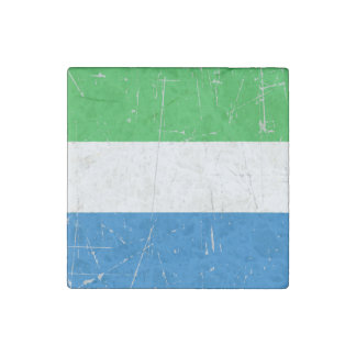 Scuffed and Scratched Sierra Leone Flag Stone Magnet