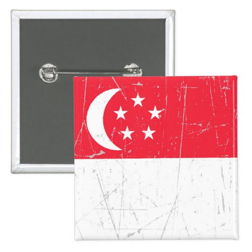 Scuffed and Scratched Singapore Flag Button