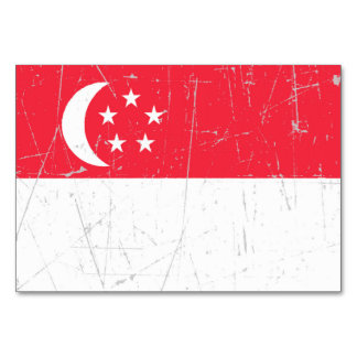 Scuffed and Scratched Singapore Flag Table Cards