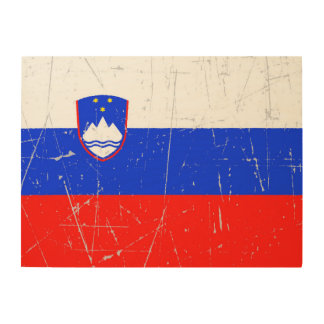 Scuffed and Scratched Slovenian Flag Wood Wall Art