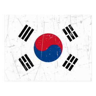 Scuffed and Scratched South Korean Flag Postcard