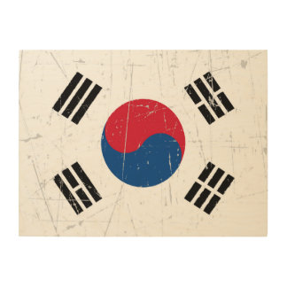 Scuffed and Scratched South Korean Flag Wood Wall Art