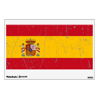 Scuffed and Scratched Spanish Flag Wall Decal