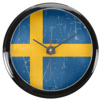 Scuffed and Scratched Swedish Flag Fish Tank Clock