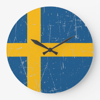 Scuffed and Scratched Swedish Flag Wall Clock