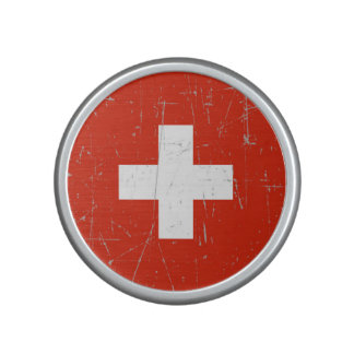 Scuffed and Scratched Swiss Flag Bluetooth Speaker