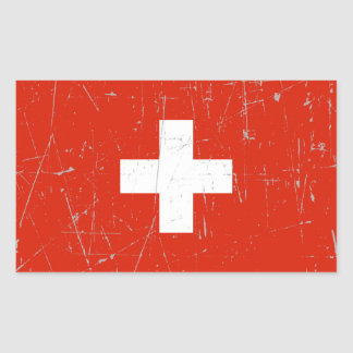Scuffed and Scratched Swiss Flag Rectangular Sticker
