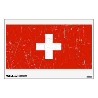 Scuffed and Scratched Swiss Flag Wall Sticker