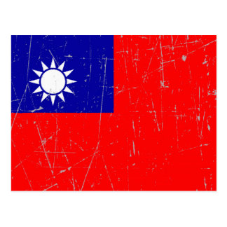 Scuffed and Scratched Taiwanese Flag Postcard
