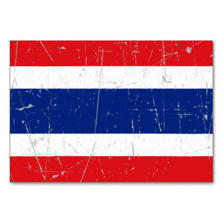Scuffed and Scratched Thai Flag Table Cards