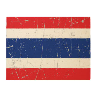 Scuffed and Scratched Thai Flag Wood Wall Art