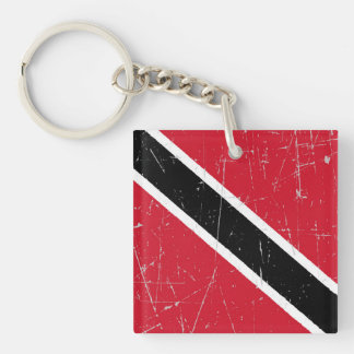 Scuffed and Scratched Trinidad and Tobago Flag Double-Sided Square Acrylic Keychain