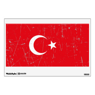 Scuffed and Scratched Turkish Flag Wall Sticker