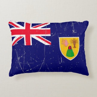 Scuffed and Scratched Turks and Caicos Flag Decorative Pillow