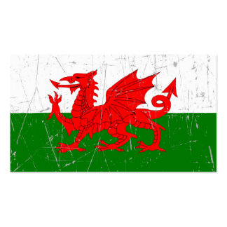 Scuffed and Scratched Welsh Flag Business Card Template