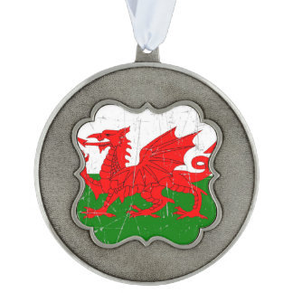 Scuffed and Scratched Welsh Flag Scalloped Pewter Christmas Ornament
