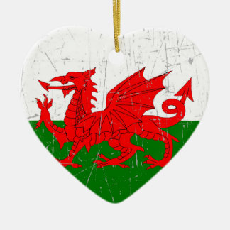 Scuffed and Scratched Welsh Flag Double-Sided Heart Ceramic Christmas Ornament