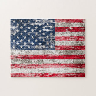 Scuffed and Worn American Flag Jigsaw Puzzle