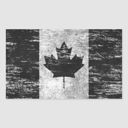 Scuffed And Worn Canadian Flag Black Rectangular Sticker