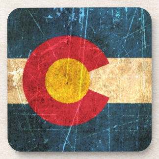 Scuffed and Worn Colorado Flag Beverage Coaster