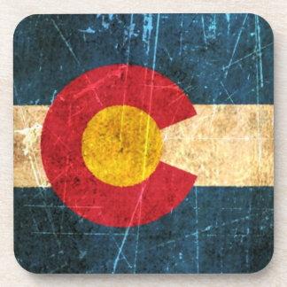 Scuffed and Worn Colorado Flag Beverage Coaster