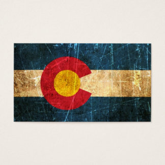 Scuffed and Worn Colorado Flag Business Card