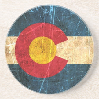 Scuffed and Worn Colorado Flag Drink Coaster