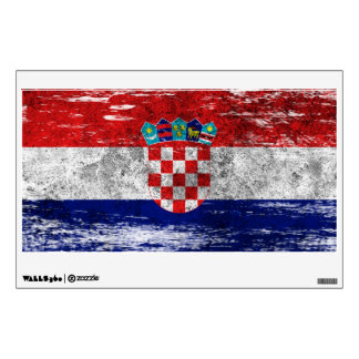 Scuffed and Worn Croatian Flag Wall Decal
