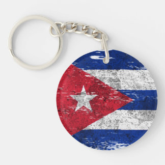 Scuffed and Worn Cuban Flag Acrylic Key Chain