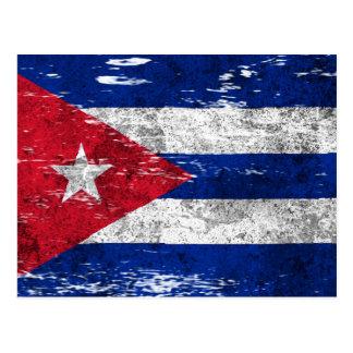 Scuffed and Worn Cuban Flag Postcard
